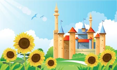 Summer Castle Background Vector