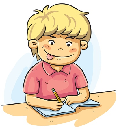 Boy Studying Vector