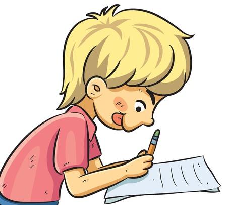 smart boy: Boy Studying Illustration