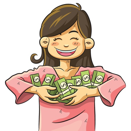 woman holding money: Cute Girl Holding Money