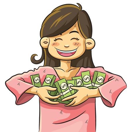 woman holding money: Cute Girl Holding Money