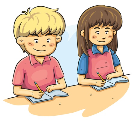 smart girl: Kids Studying Illustration