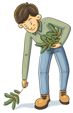 cleaning up: Man Collecting Branch Illustration