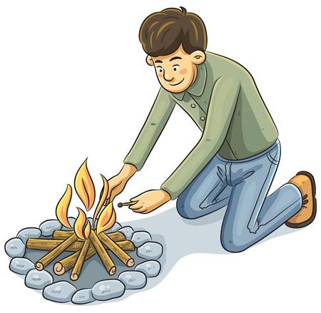 Man Lighting The fire Vector