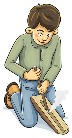 primitive tools: Man Making a Fire