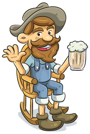 cowboy beard: Old Man Drinking a Beer Illustration