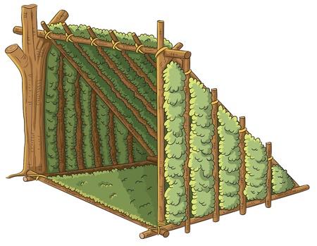 sobreviviente: Tent refugio de madera