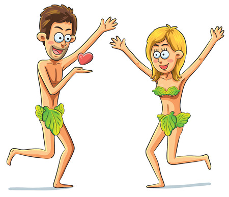 cute cartoon illustration of adam and eve Illustration