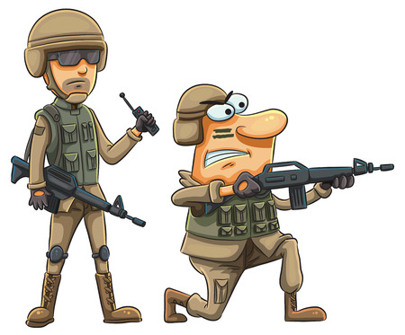 dangerous man: cartoon illustration of army soldiers