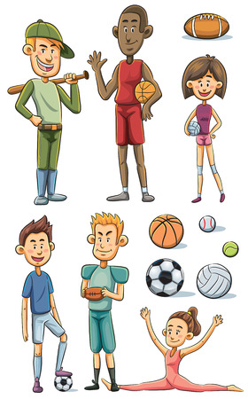 cartoon illustration of athlete collection Vector