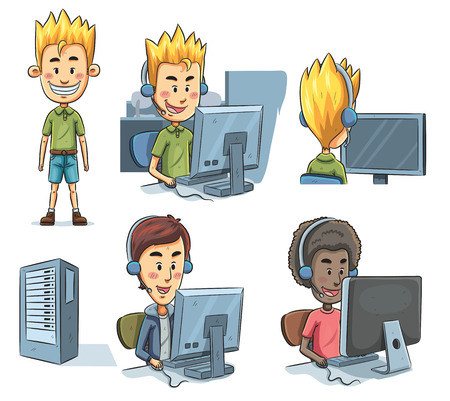 cartoon illustration of boys playing computer Vector