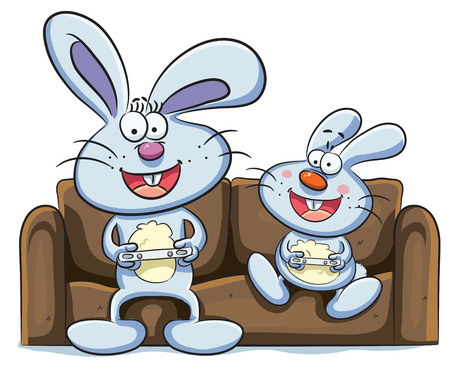 playing video games: cartoon illustration of bunny playing video games