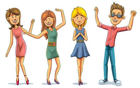 tanzen cartoon: Cartoon-Abbildung von Menschen auf Nachtklub-Party