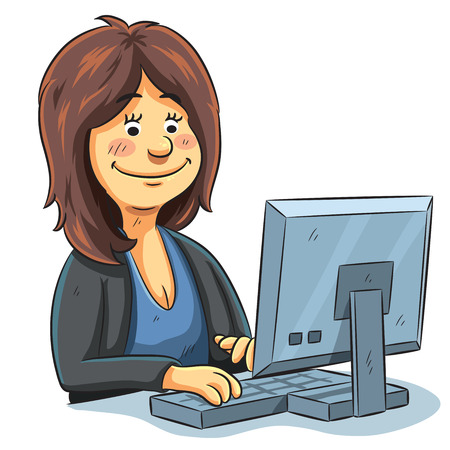 computadora caricatura: ilustración de dibujos animados de un editor que trabaja delante del ordenador