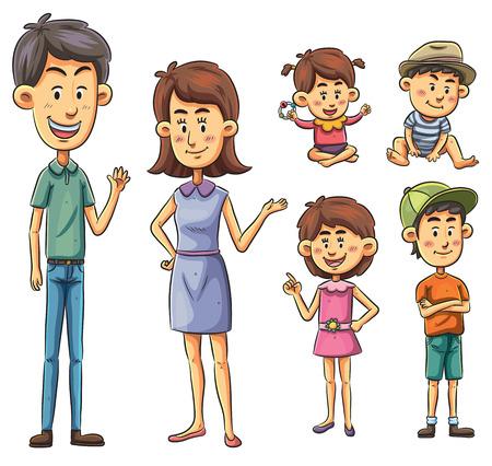 Cartoon-Illustration einer Familie Satz