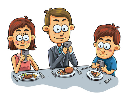 woman cellphone: cartoon illustration of ignorant family dinner Illustration