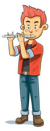 flauta: ilustración de dibujos animados de un jugador de flauta