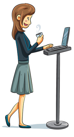 cartoon illustration of a girl with laptop Vector