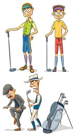 golf stick: cartoon illustration of various man playing golf