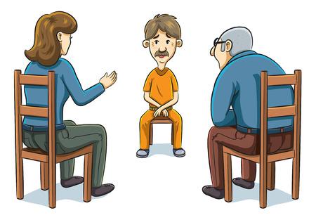 cartoon illustration of police doing investigation to prisoner