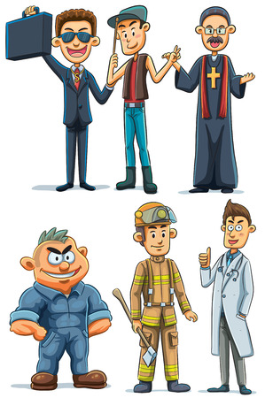suit case: cartoon illustration of man with various profession
