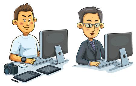computadora caricatura: ilustración de dibujos animados del hombre que trabaja en el ordenador