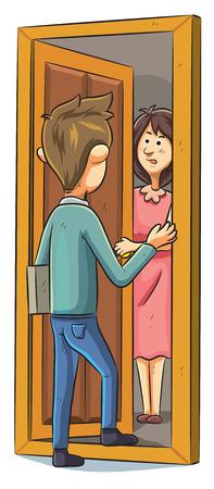 salesmen: cartoon illustration of salesman offering a product
