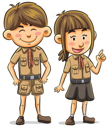 girl scout: cartoon illustration of scout kids