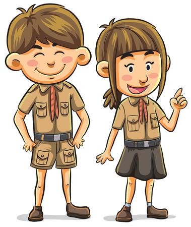 cartoon illustration of scout kids Vector