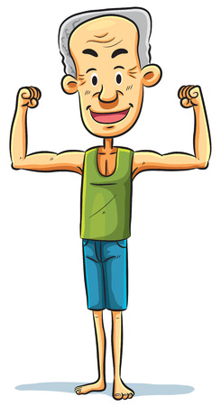 stocky: cartoon illustration of a strong grandpa