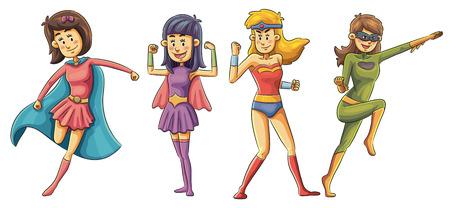 cartoon illustration of Super girl collection Vector