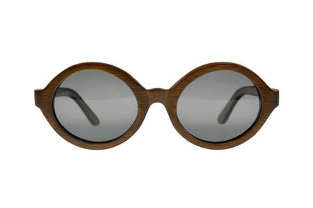 Wooden dark brown round sunglasses with gray glasses on white background