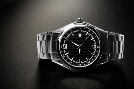 Wrist watch on the black background Stock Photo
