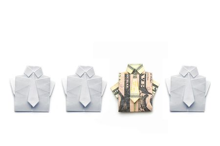 dollar and paper folded origami style into a shirt and tie 版權商用圖片 - 8019953