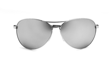 Mirrored aviator sunglasses isolated on white photo