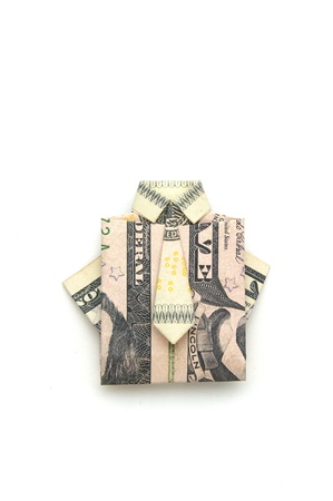 five dollar bill: dollar folded origami style into a shirt and tie