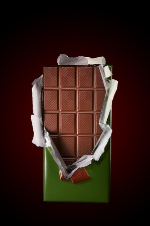 Chocolate in bar with open cover