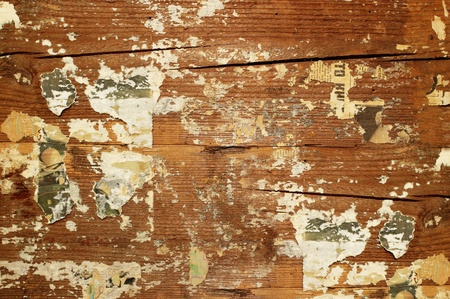 Wooden grunge background with pieces of papers