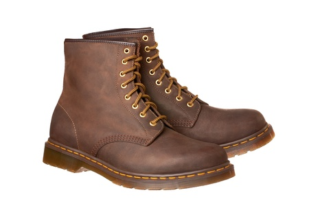 New brown boots isolated on white 版權商用圖片