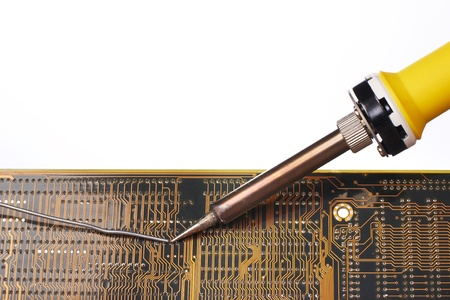 Soldering and repair an electronic circuit photo