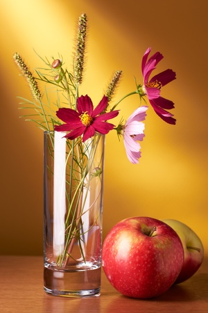 glass vase: Still life with flowers and apples on yellow background Stock Photo