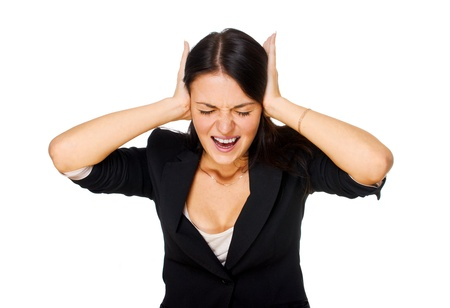 Screaming woman covering her ears. Isolated on white background 版權商用圖片