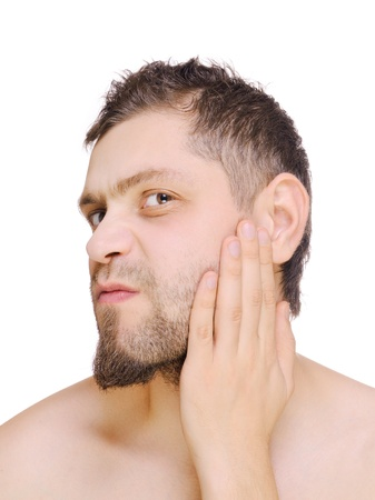 Men looking beard before shaving. Isolated on white. Stock Photo - 11768144
