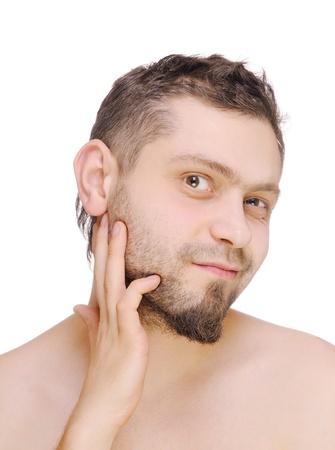 Men looking beard before shaving. Isolated on white. Stock Photo - 11915038