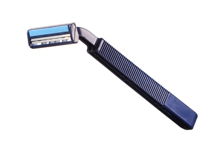 Double-blade shaver. Blue color. Isolated on white background Stock Photo - 12435444