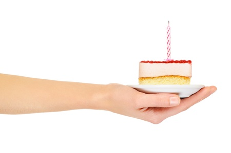 Female hand keep cake with candle. Isolated on white Stock Photo