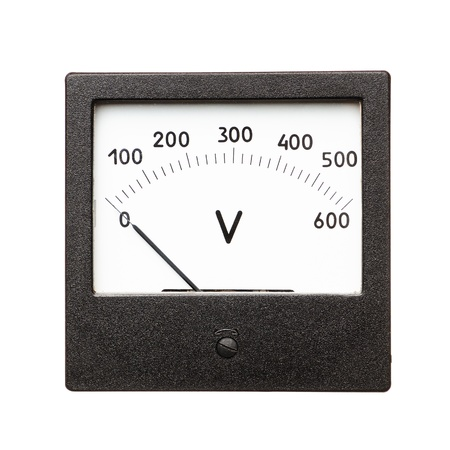 Old voltmeter isolated on a white background