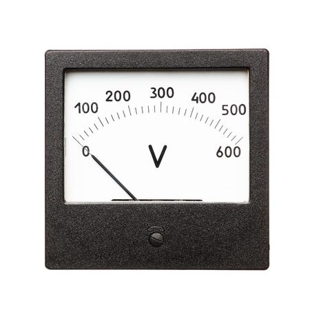 contador electrico: Volt�metro Antiguo aislado en un fondo blanco