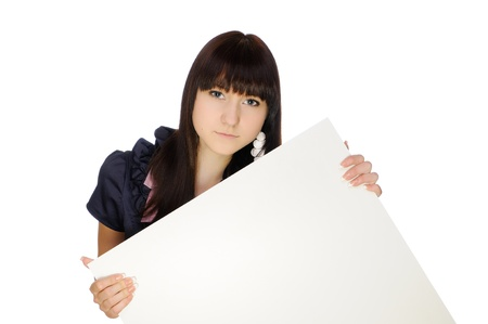 Girl with blank billboard. Isolated on white Stock Photo - 13691677