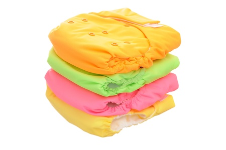 Stack of cloth diaper isolated on white background photo